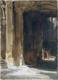 Cathedral Interior ca. 1904.  John Singer Sargent