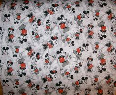 A Wonderful Disney Classic Mickey And Minney Mouse Cotton Fabric BTY Free US Shipping. $15.95, via Etsy.