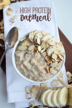 High Protein Oatmeal Recipe (How to Make Stovetop Oatmeal with Eggs) Oatmeal not keeping you full in the morning? Try this High Protein Oatmeal recipe instead. Makes the perfect fast and satisfying breakfast! Protein Snacks, High Protein Recipes, Healthy Breakfast Recipes, Healthy Snacks, Healthy Recipes, Quick High Protein Breakfast, Protein Cake, Healthy Eating, Protein Muffins