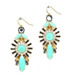 Sun Goddess Mint Black Amber Stone Burst Earrings