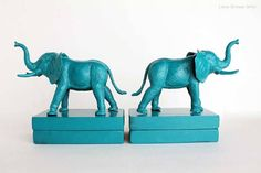 "8.) Mount painted kids toys on to wood blocks to make <a href=""http://lovegrowswild.com/2013/02/plastic-elephant-book-ends/"" target=""_blank"">modern bookends</a>."
