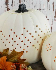Make decorative drilled pumpkins this year instead of the typically carved one. Our template, your drill and a candle will showcase your pumpkin in style.