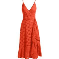 Trina Turk Kacie Sleeveless Cotton Eyelet Wrap Dress ($348) ❤ liked on Polyvore featuring dresses, red strappy dress, red sleeveless dress, red cotton dress, trina turk dresses and a line dress