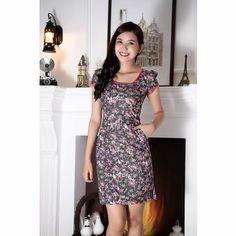 K&K Fashion KK36-13 - Đầm công sở / Nền hoa viền hồng