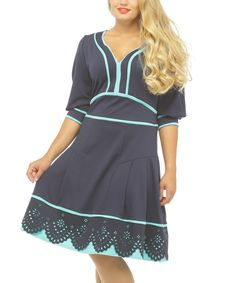 Look what I found on #zulily! Blue & Mint Lace-Trim Pleated Skater Dress - Plus by Alpama #zulilyfinds