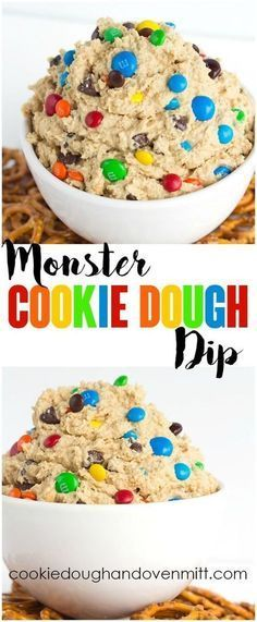 Monster Cookie Dough Dip - dip inspired by the monster cookie and perfect with pretzels. It's loaded with peanut butter, oatmeal, candies, and chocolate chips and whipped until light and airy. Dip Dip, Dessert Dips, Good Desserts, Light Summer Desserts, Winter Desserts, Dessert Parfait, Oreo Dessert, Delicious Desserts, Light Snacks