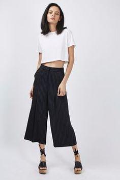 Pin Stripe Wide Leg Cropped Trousers