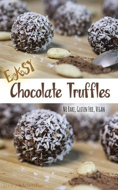 Super Easy Chocolate Truffles. Delicious and fast. #nobake #glutenfree #vegan