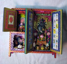 retablos | ... Espinoza - ( Michoacán ) Wood retablos, finely painted ceramic masks