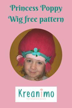 Princess Poppy hat - free chrochet pattern crea-cross https://blog.kreanimo.com/en/princess-poppy-hat-free-crochet-pattern/