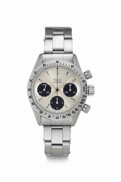 Rolex. A Fine Stainless Steel Chronograph Wristwatch with Bracelet | SIGNED ROLEX, OYSTER, COSMOGRAPH, REF. 6265, CASE NO. 3'976'519, CIRCA 1974 | 1970s, chronograph | Christie's