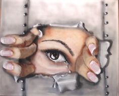 trapped in loneliness, The painting explains itself ! , created with airbrush and brush, with acrylics & ink on canvas, SOLD parallax Art Fair, Chelsea London.