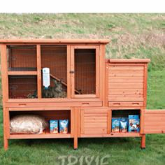 Love the storage in this rabbit hutch