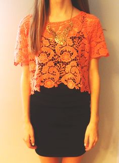 Coral Lace On Top of a plain black tee by jhoman96