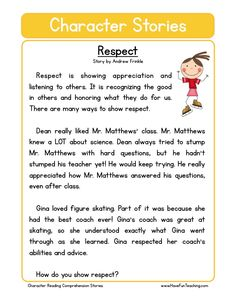 Respect character reading comprehension worksheet resources social studies education worksheets main ideas in paragraphs English Stories For Kids, Moral Stories For Kids, Short Stories For Kids, English Story, English Lessons, English Grammar, Reading Comprehension Worksheets, Reading Fluency, Reading Passages