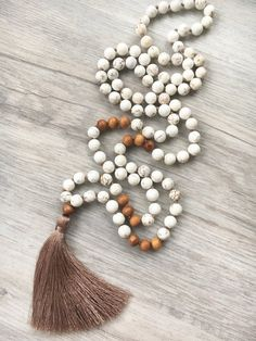 Patience  Howlite Mala  108 bead hand knotted by SaltAndMoon
