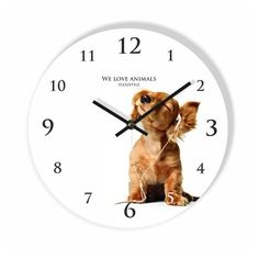 Detske nastenne hodiny so psikom Clock, Animals, Watch, Animales, Animaux, Clocks, Animal, Animais