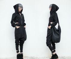 Elegant black hoodie alternative outfit.