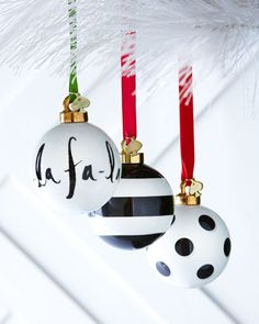 Black & White Christmas Ornaments by kate spade new york at Horchow.