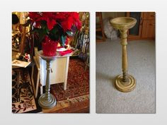 Old Wood Ashtray Stand Chalk Painted And Now Used As Plant Stand
