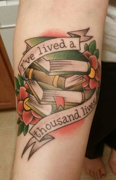 Book tattoo, in American traditional style Ryan @ Shocker Tattoo in Albany