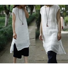 201 Thin Linen Layered Off-White Tunic Robe White Dress (Excluding... ($109) ❤ liked on Polyvore featuring black, tops, tunics, women's clothing, plus size slip and white slip