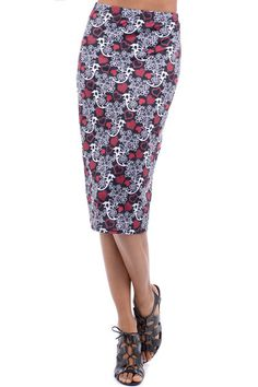 Hearts and Flowers Midi Pencil Skirt , House Of Brits
