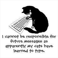I cannot be responsible for future messages as apparently my cats have learned to type. ~ Uh-oh... Or they get between me and the keyboard so I cannot type.