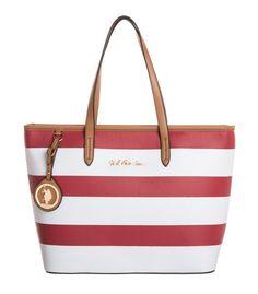 U.S. Polo Assn. Handtasche rot/weiß