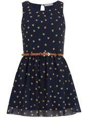 Navy dotty dress / Sugar Reef / Dorothy Perkins