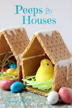 Yesterfood : Easter Peeps Houses . Fun spring craft idea! This is so cute & cheap way to decorate the dinner table with on the holiday!