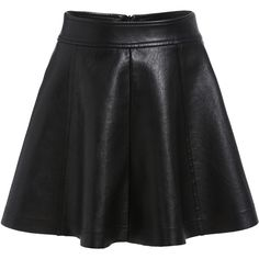 Zipper PU A-Line Black Skirt (€17) ❤ liked on Polyvore featuring skirts, black, black zipper skirt, knee length skater skirt, short skater skirt, a line skirt y zip skirt