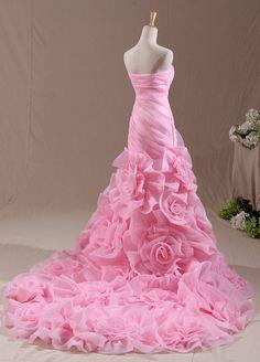 sweet pink strapless organza chapel train wedding dress