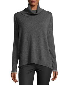 THREE DOTS RALEIGH CASHMERE COWL-NECK SWEATER, CHARCOAL. #threedots #cloth #
