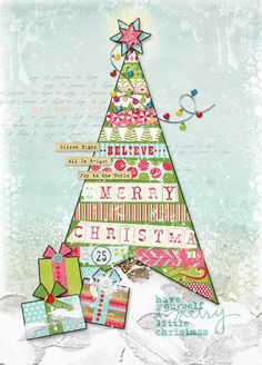holiday mixed media canvas | Christmas Card but would be pretty on a canvas as ... | Mixed Media
