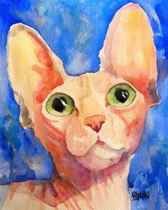 Sphynx Cat Art Print of Original Watercolor Painting 11x14 by dogartstudio on Etsy https://www.etsy.com/listing/53598280/sphynx-cat-art-print-of-original
