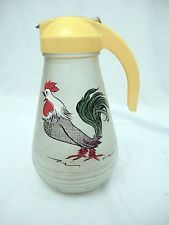 Vintage Hazel Atlas Dispenser for Syrup/Pancake Mix  - Frosted Glass w Rooster