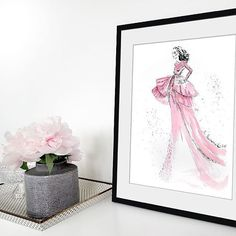 Marta Skowronek Illustration   Springtime 🌸 🌹 🌸  . . . .  #peonies #sideboard #interior #girly #pink #drawing #sketch #art #painting #workspace #fashionillustration #illustration #fashion #highfashion #hautecouture #magazine #mywork #wallart #styling #glamour #decoration #watercolor #ink #hairstyle #makeup #kunst #zeichnung #mode #talnts