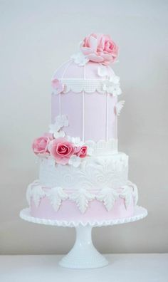 Pale Pink Bird Cage with Lace & Flowers Cake