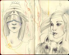 Strangelings, sketch on Moleskine. Ioana Sopov