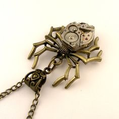 Mechanical Spider necklace Vintage Bulova watch movement Steampunk Black Widow spider pendant