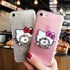Ring Grip Hello Kitty Bling Glitter Cover Cases For iPhone 6 6s 7 Plus soft TPU Cute Cartoon Mobile Phone Case Shell Capa Fundas //Price: $8.04 & FREE Shipping // #hashtag1