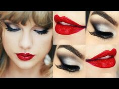 Silver smoky eye and red lips