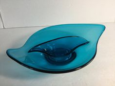 Vintage Mid Century Modern Viking Bluenique Turquoise Blue Glass Divided Candy Dish by SunshineVintageGoods on Etsy