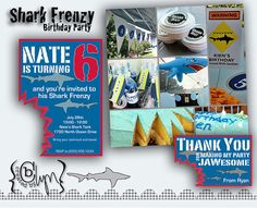 Shark party THANK YOU CARD by CreatedbyLyn on Etsy, $7.00