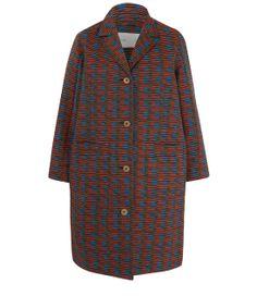 Folk Orange Single Breasted Jacquard Coat