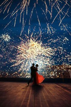 Make your wedding sparkle | Play a firework scene on the projector for the kiss!