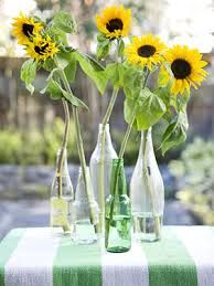 Simple sunflower centrepieces