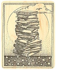 """{Single Count} Unique & Custom (3 1/2″ by 4 1/2″ Inches) """"Mountain Of Books & Moonlit Night Sky Scene"""" Rectangle Shaped Genuine Wood Mounted Rubber Inking Stamp Review"""