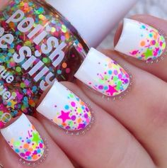 FUNFETTI- Polka Dot Rainbow NEON Confetti Colorful Pop Nail Polish Indie Glitter Lacquer Varnish Water Marble Stamping by Polish Me Silly Zebra Nails, Neon Nails, Cute Acrylic Nails, Diy Nails, Cute Nails, Leopard Nails, Bright Nails, Cute Nail Art, Star Nail Art